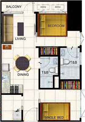SMDC AIR Residences Ayala Extension Makati Condo 2-bedroom unit with balcony
