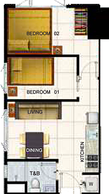 SMDC AIR Residences Ayala Extension Makati Condo 2-bedroom unit without balcony