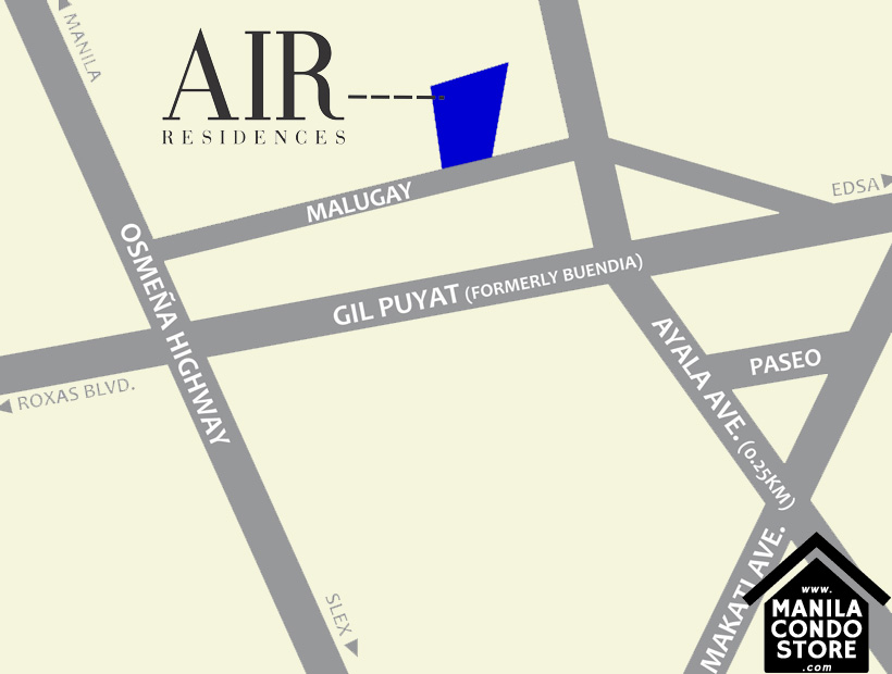 SMDC AIR Residences Ayala Extension Makati Condo Location Map