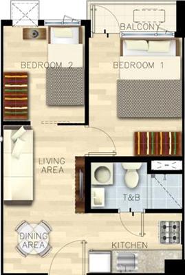 SMDC Bloom Residences Sucat Paranaque Condo 2-bedroom with balcony