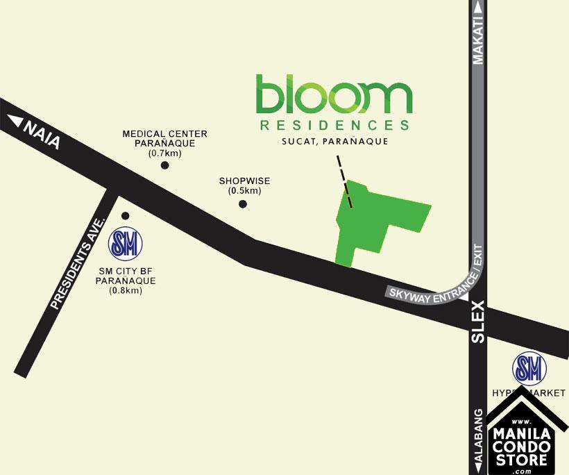 SMDC Bloom Residences Sucat Paranaque Condo Location Map