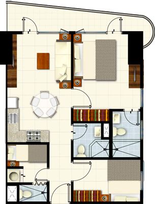 SMDC COAST Residences Roxas Boulevard Pasay Condo 2-bedroom end unit with balcony