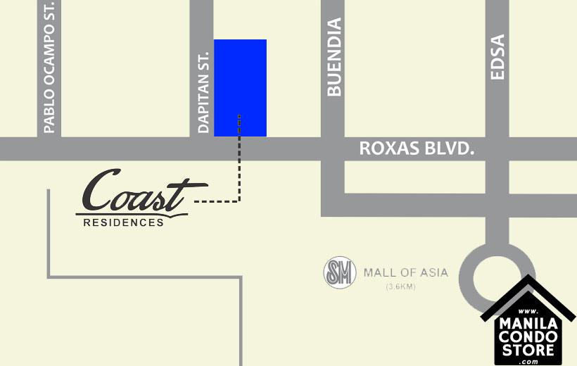 SMDC COAST Residences Roxas Boulevard Pasay Condo Location Map