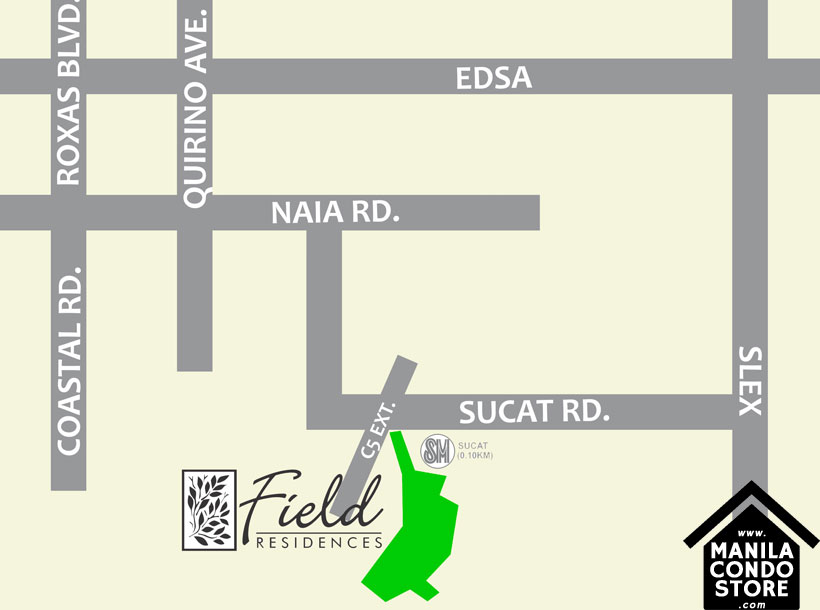 SMDC FIELD Residences Sucat Paranaque Condo Location Map