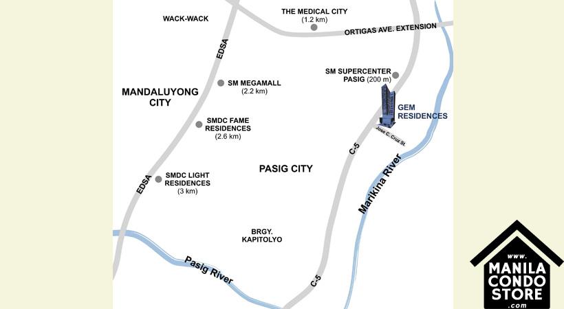 SMDC Gem Residences C5 Road Pasig City Condo Location Map