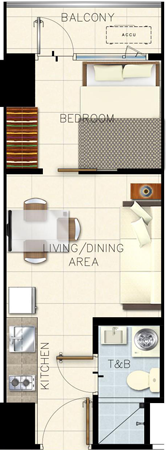SMDC GLAM Residences EDSA South Triangle Quezon City Condo 1-bedroom unit with balcony