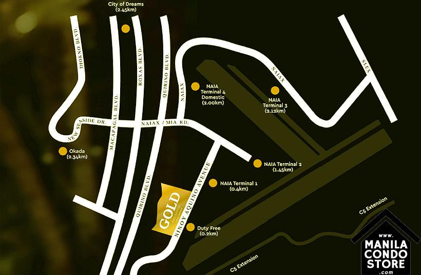 SMDC Gold Residences Sucat Paranaque Airport Condo Location Map