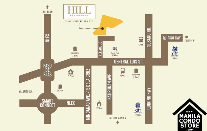 SMDC HILL Residences Novaliches Quezon City Condo Location Map