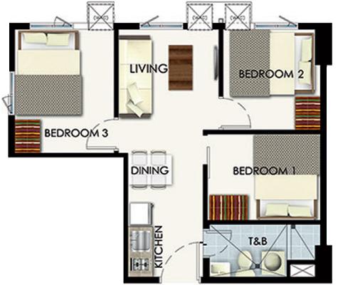 SMDC Leaf Residences Susana Heights Muntinlupa Condo 3-bedroom unit