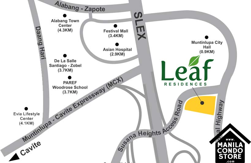 SMDC Leaf Residences Susana Heights Muntinlupa Condo Location Map