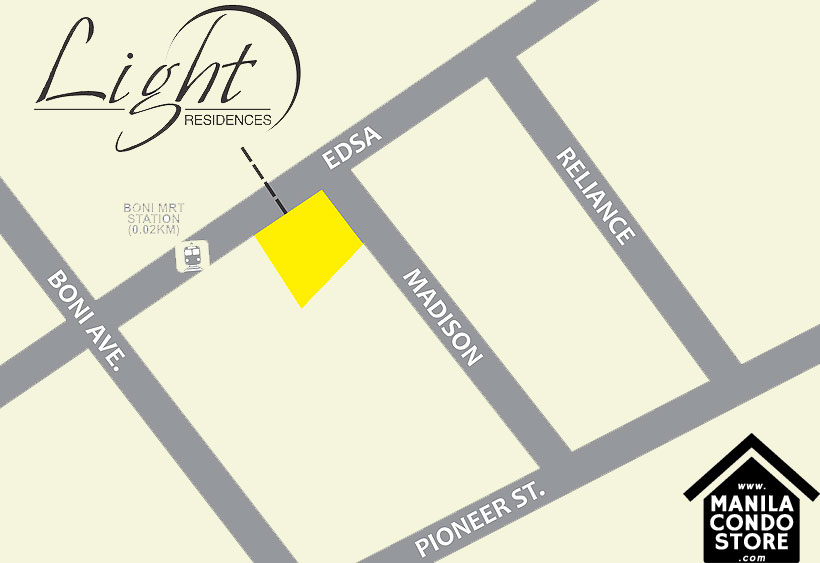 SMDC LIGHT Residences MRT EDSA Boni Mandaluyong Condo Location Map