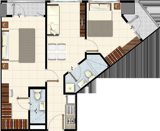 SMDC LUSH Residences San Antonio Makati Condo 2-bedroom unit with balcony