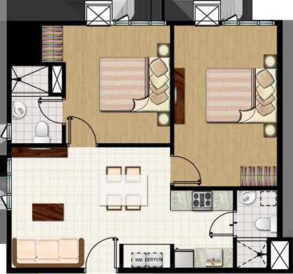 SMDC MEZZA 2 Residences UERM Sta Mesa Condo 2-bedroom end unit