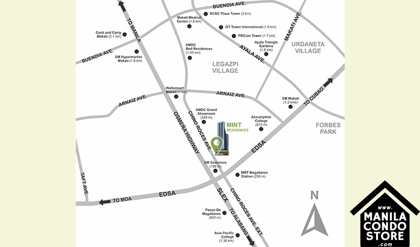 SMDC Mint Residences Chino Roces Bangkal Makati Condo Location Map