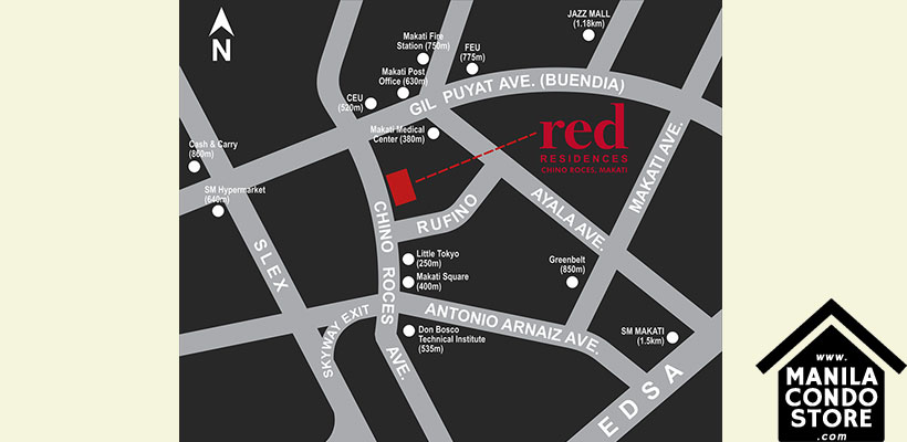 SMDC RED Residences Chino Roces Makati Condo Location Map
