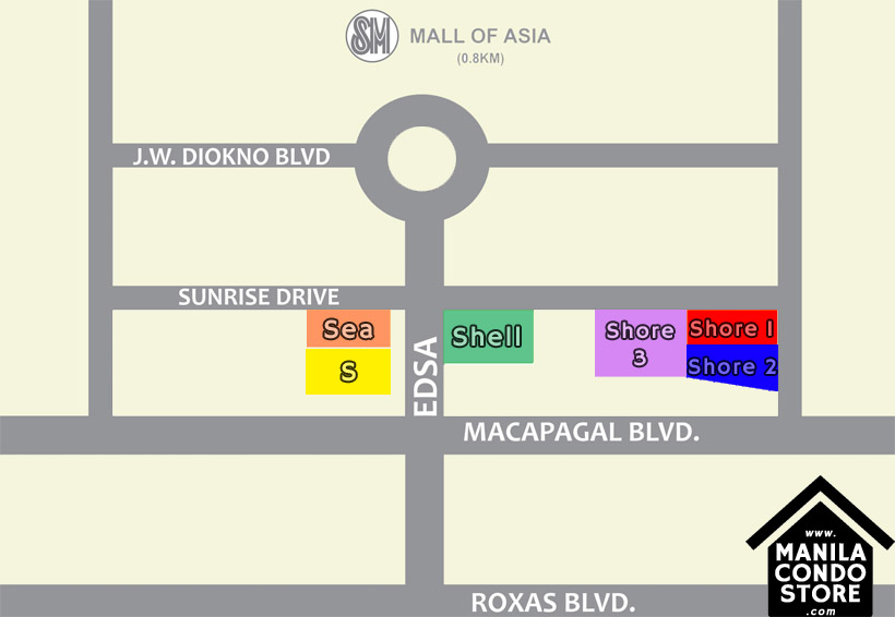 SMDC SHORE 3 Residences Mall of Asia Condo Location Map