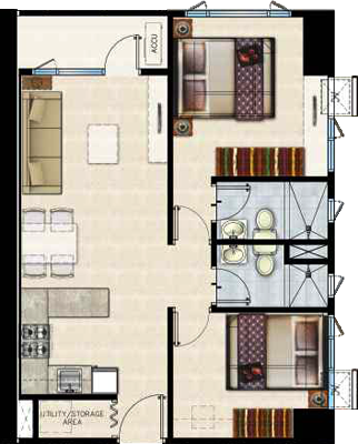 SMDC SHORE Residences Mall of Asia Condo 2-bedroom unit with balcony