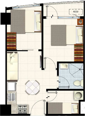 SMDC SOUTH Residences Southmall Las Pinas Condo 2-bedroom unit with balcony