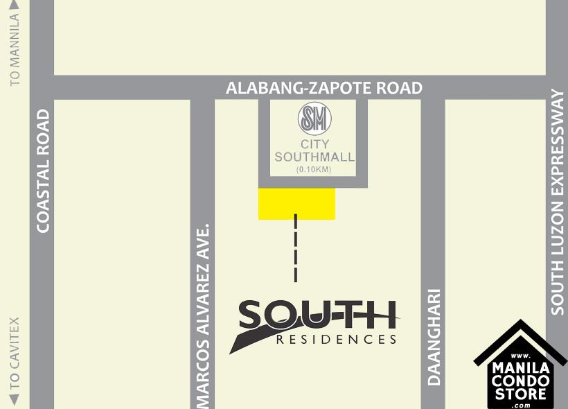 SMDC SOUTH Residences Southmall Las Pinas Condo Location Map