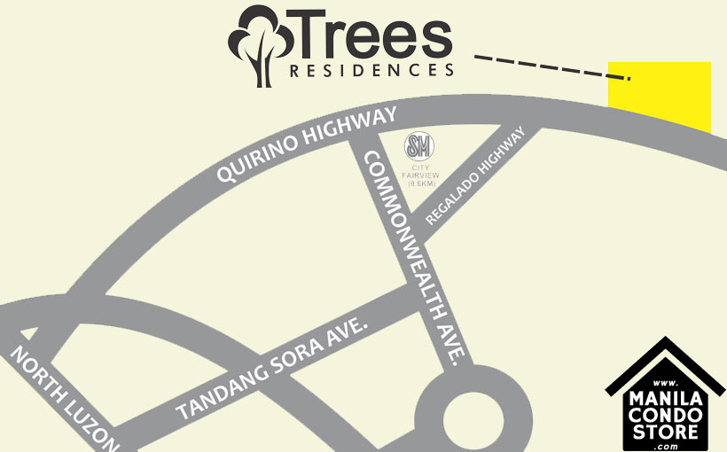 SMDC TREES Residences Fairview Quezon City Condo Location Map