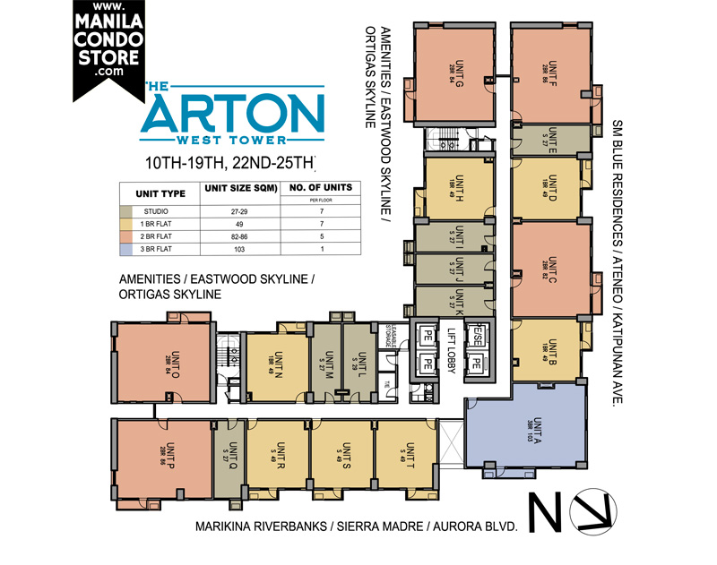 The Arton by Rockwell Katipunan QC Condo West Tower Floor Plan