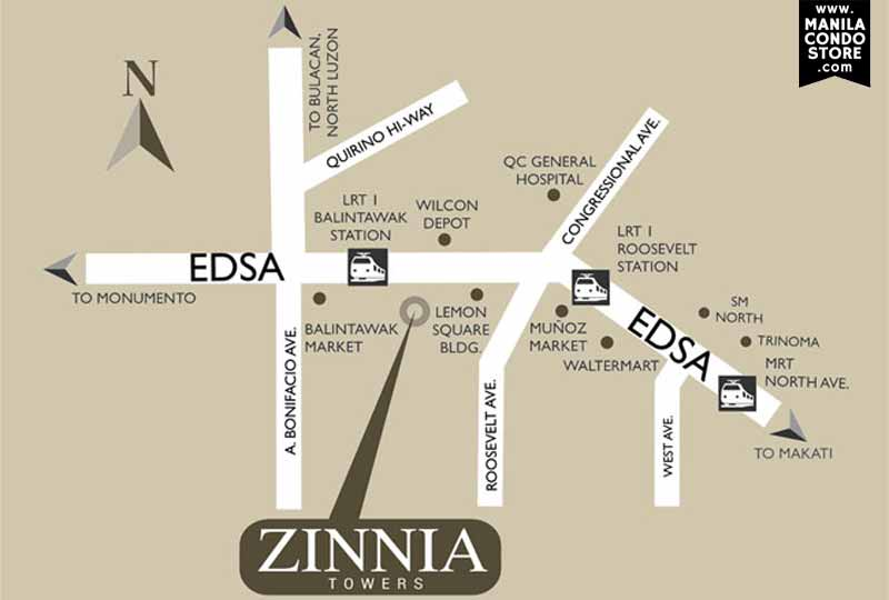 DMCI Homes Zinnia Towers Balintawak Quezon City Condo Location and Vicinity Map
