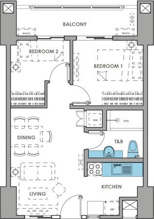 DMCI Homes Brixton Place Kapitolyo Condo 2-bedroom with balcony A