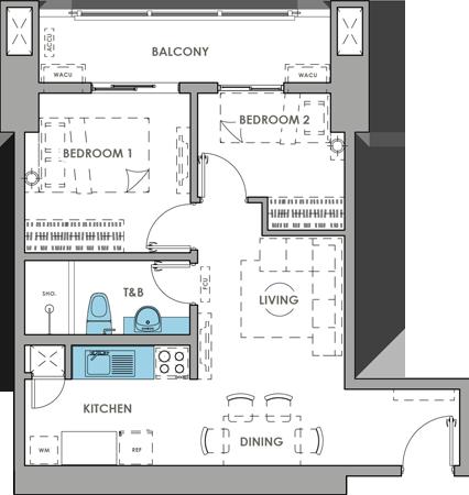 DMCI Homes Brixton Place Kapitolyo Condo 2-bedroom with balcony D