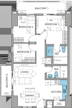 DMCI Homes Brixton Place Kapitolyo Condo 3-bedroom with balcony A
