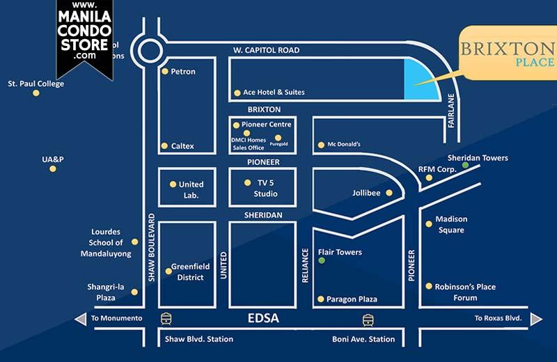 DMCI Homes Brixton Place Kapitolyo Condo Location Map