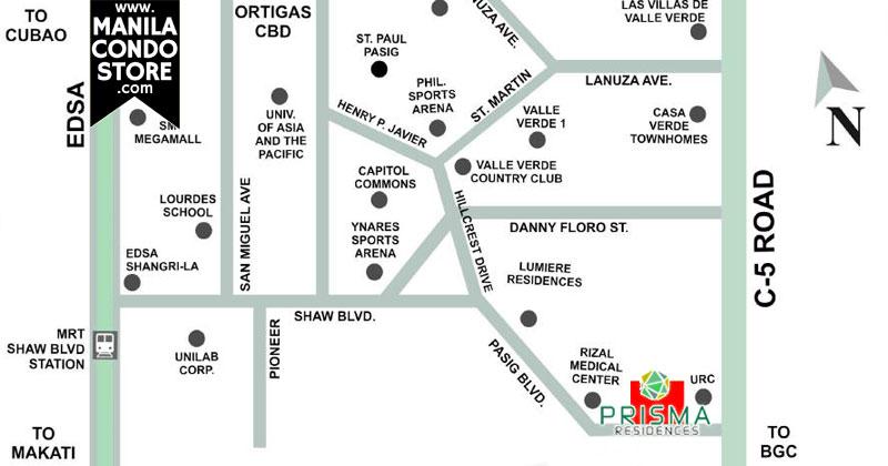 DMCI Homes Prisma Residences Pasig Condo Location Map